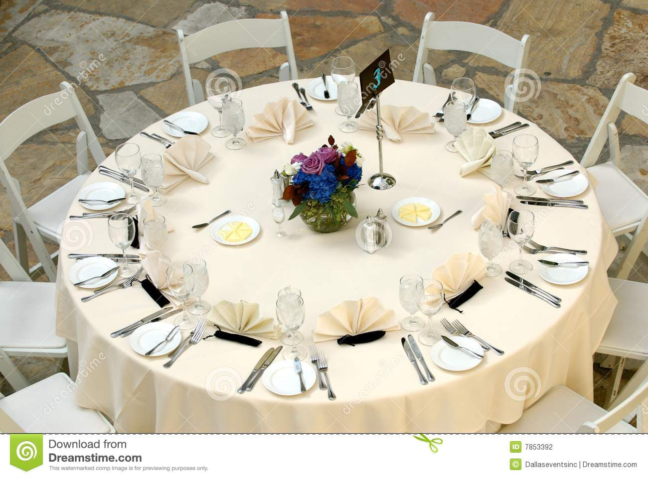Luxurious Table Setting At A Wedding Reception Stock
