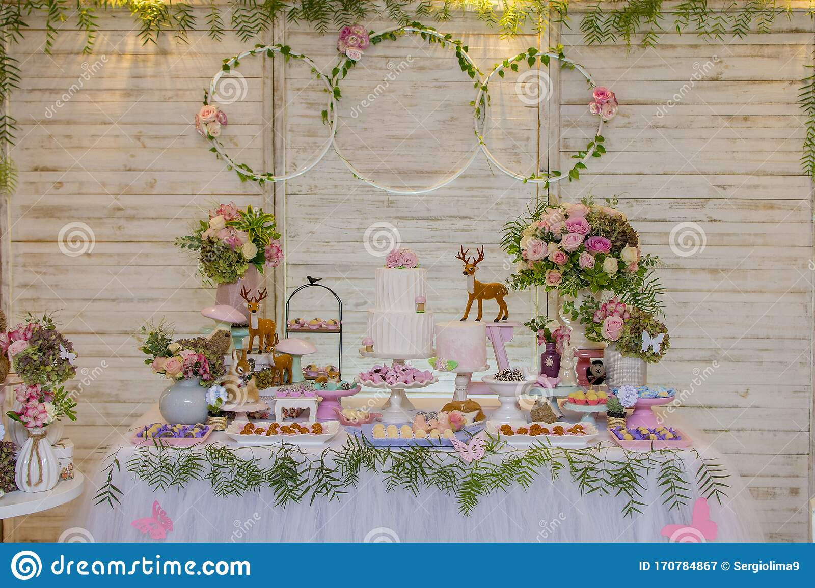 Fabulous Luxurious Table Of Sweets And Birthday Cake Stock Image Image Of Funny Birthday Cards Online Hetedamsfinfo