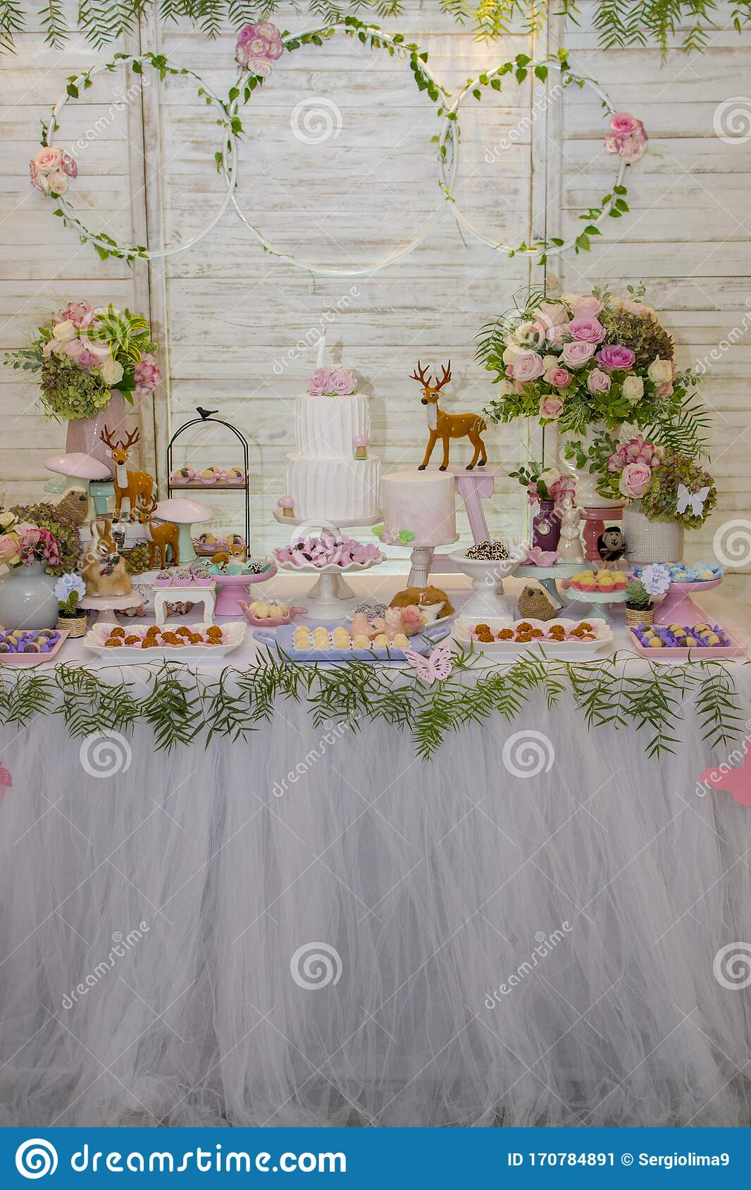Sensational Luxurious Table Of Sweets And Birthday Cake Stock Image Image Of Funny Birthday Cards Online Elaedamsfinfo