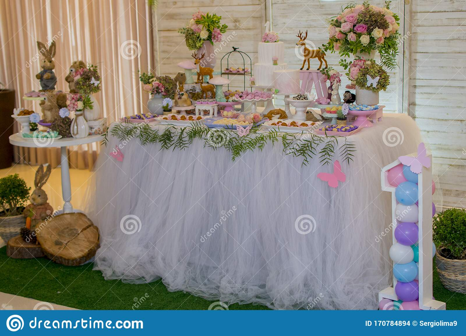Pleasing Luxurious Table Of Sweets And Birthday Cake Stock Photo Image Of Funny Birthday Cards Online Hetedamsfinfo