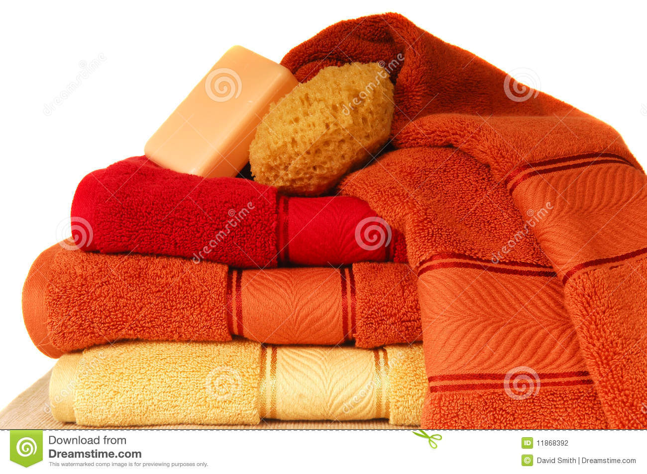 Luxurious Towels With Soap And Sponge Stock Photography ...
