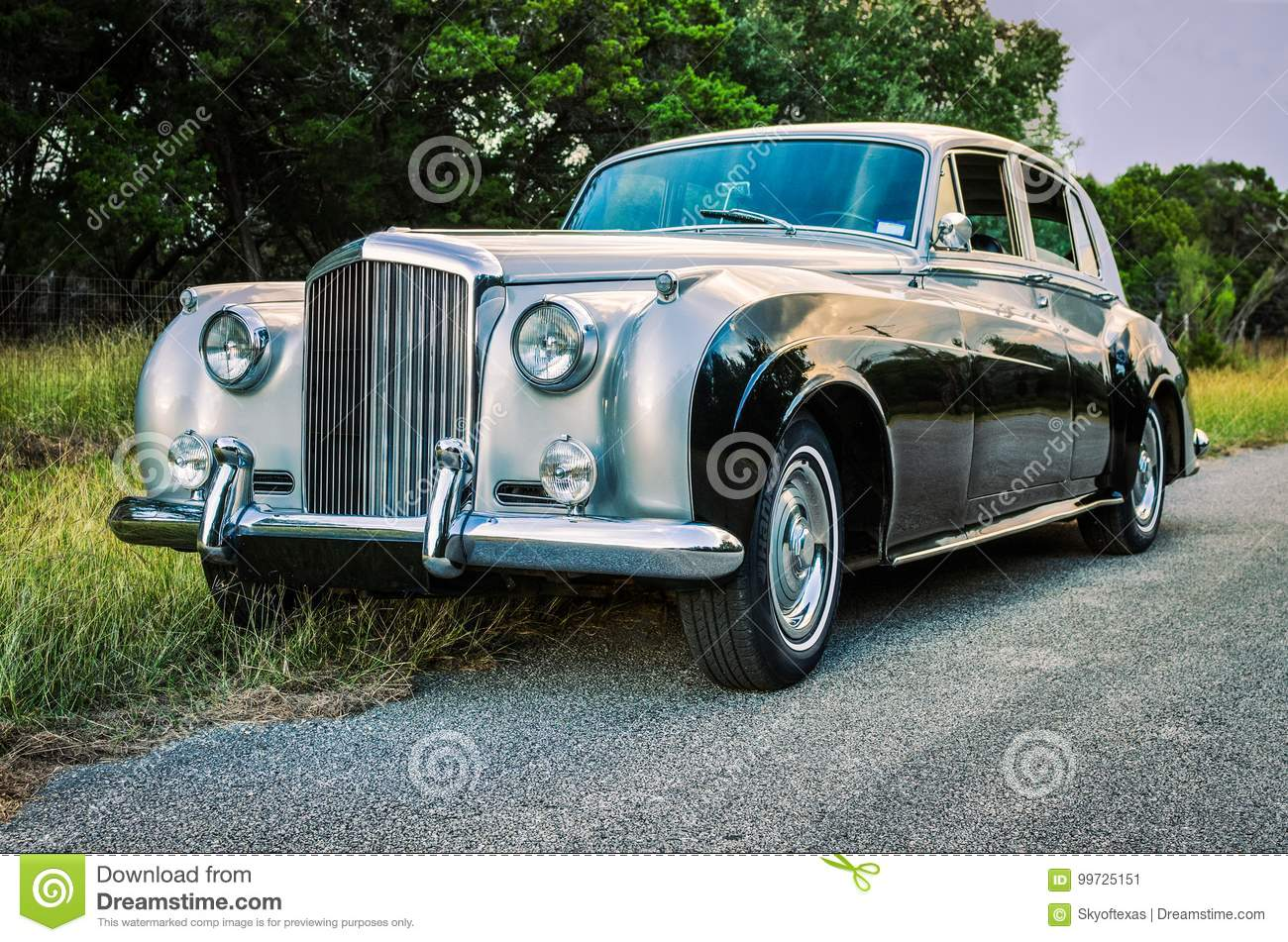 Luxurious, two-toned, vintage limousine on a rural Texas road.