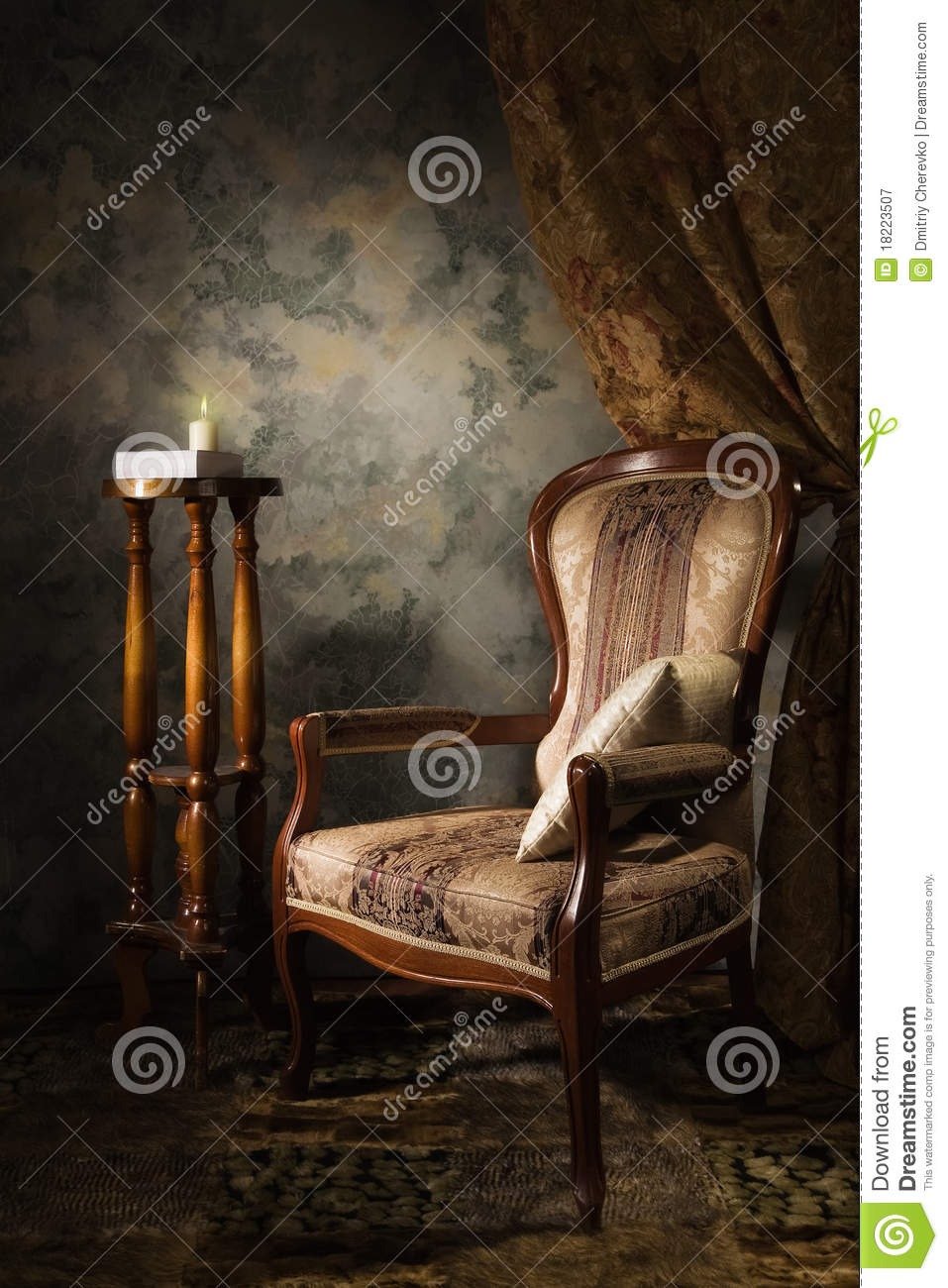 Luxurious vintage interior with armchair stock image Vintage interior