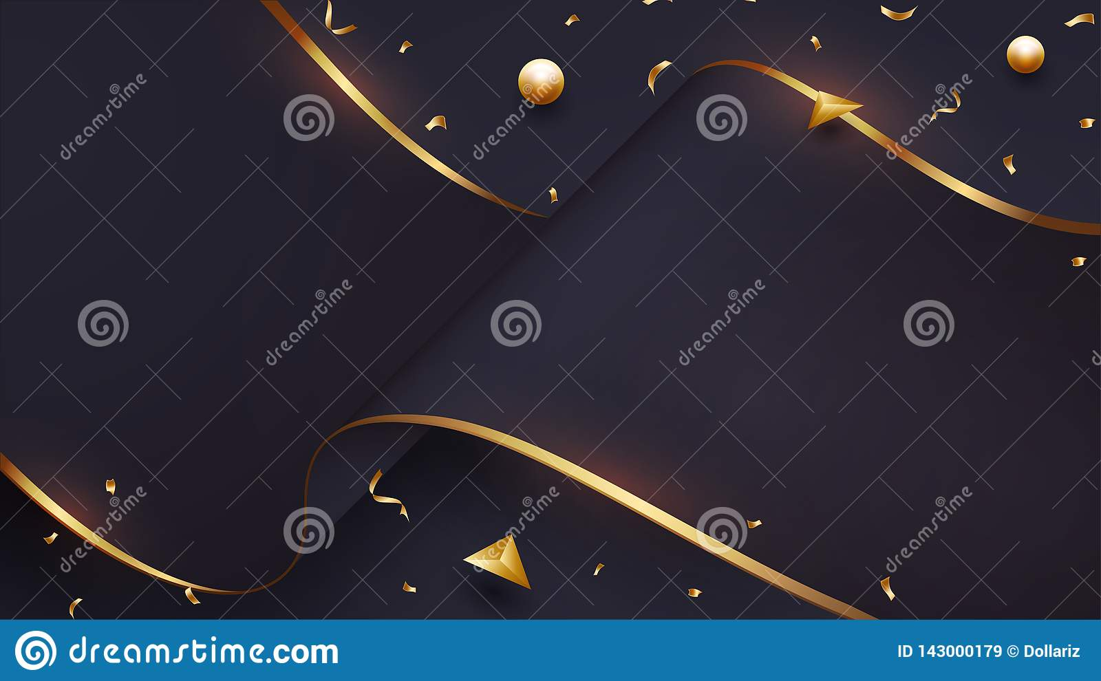 Luxurious wave paper background with a blend of black and gold. Eps10 vector illustration