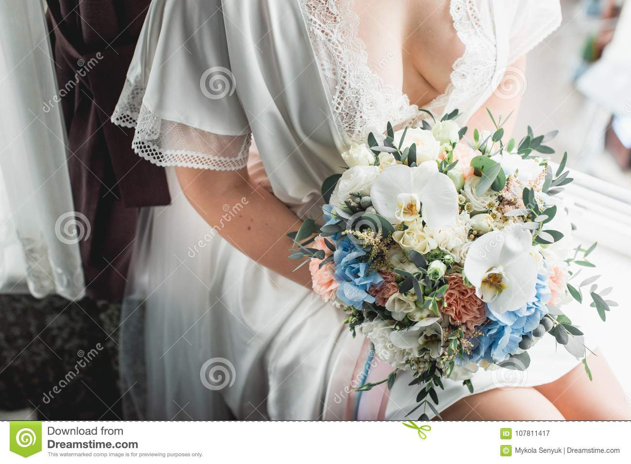 Luxurious Wedding Bouquet Made Of Roses Carnation And Hydrangea