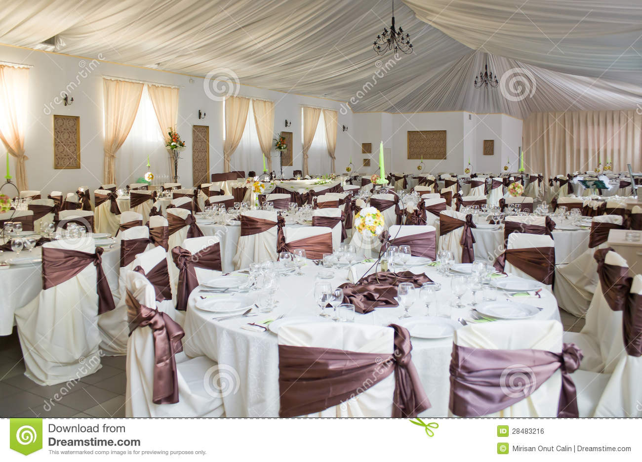 Indoor Wedding Venue Royalty Free Stock Photo: Luxurious Wedding Reception Stock Photo
