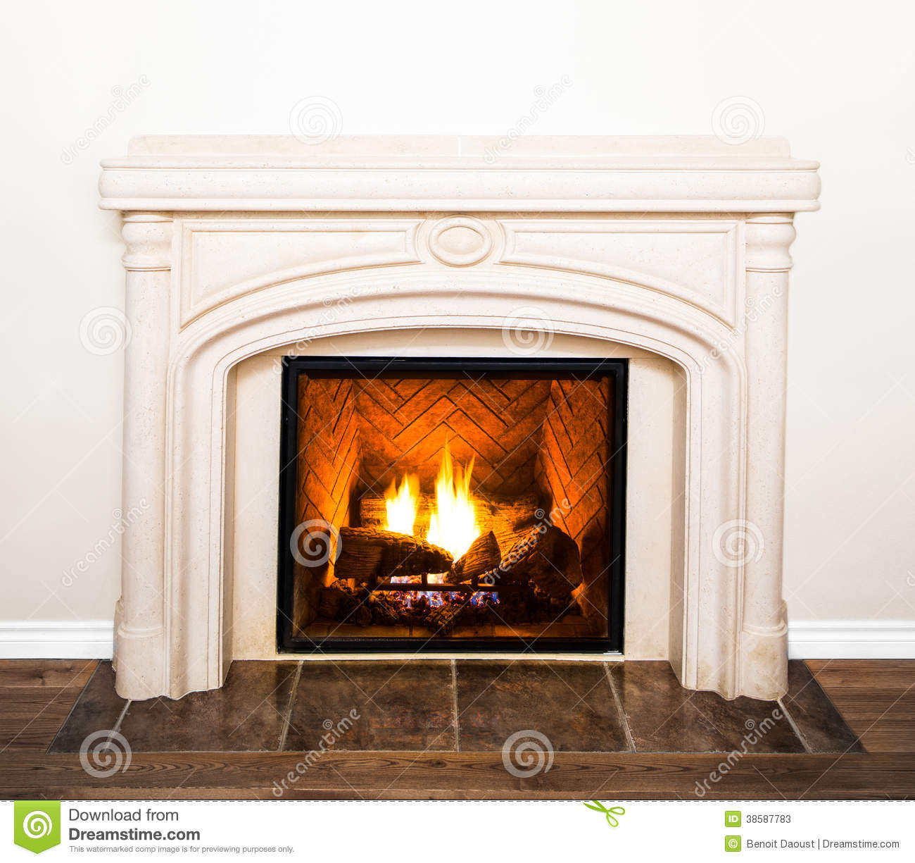Luxurious White Marble Fireplace And Empty Wall Stock ...