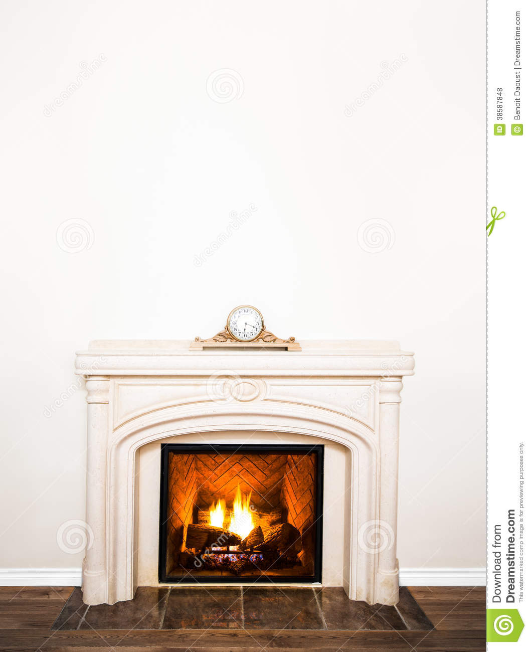 Luxurious White Marble Fireplace And Empty Wall Royalty