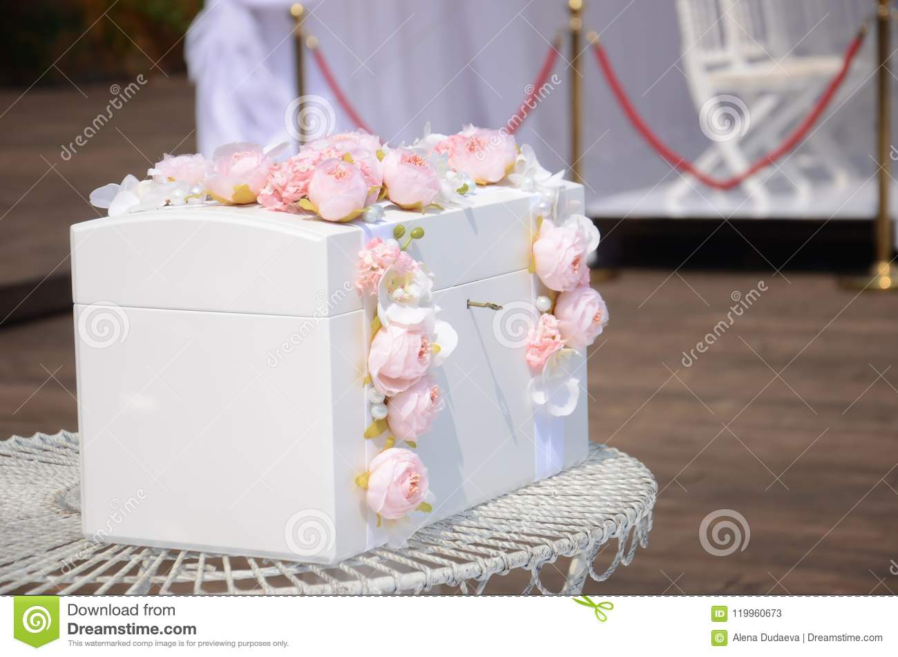 Casket For A Wedding For Gifts Stock Image Image Of Value Flower