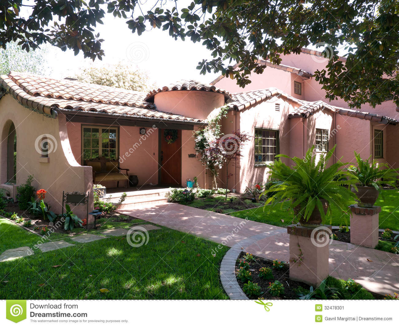 Luxury adobe house in afternoon sun stock image image for Adobe style homes for sale