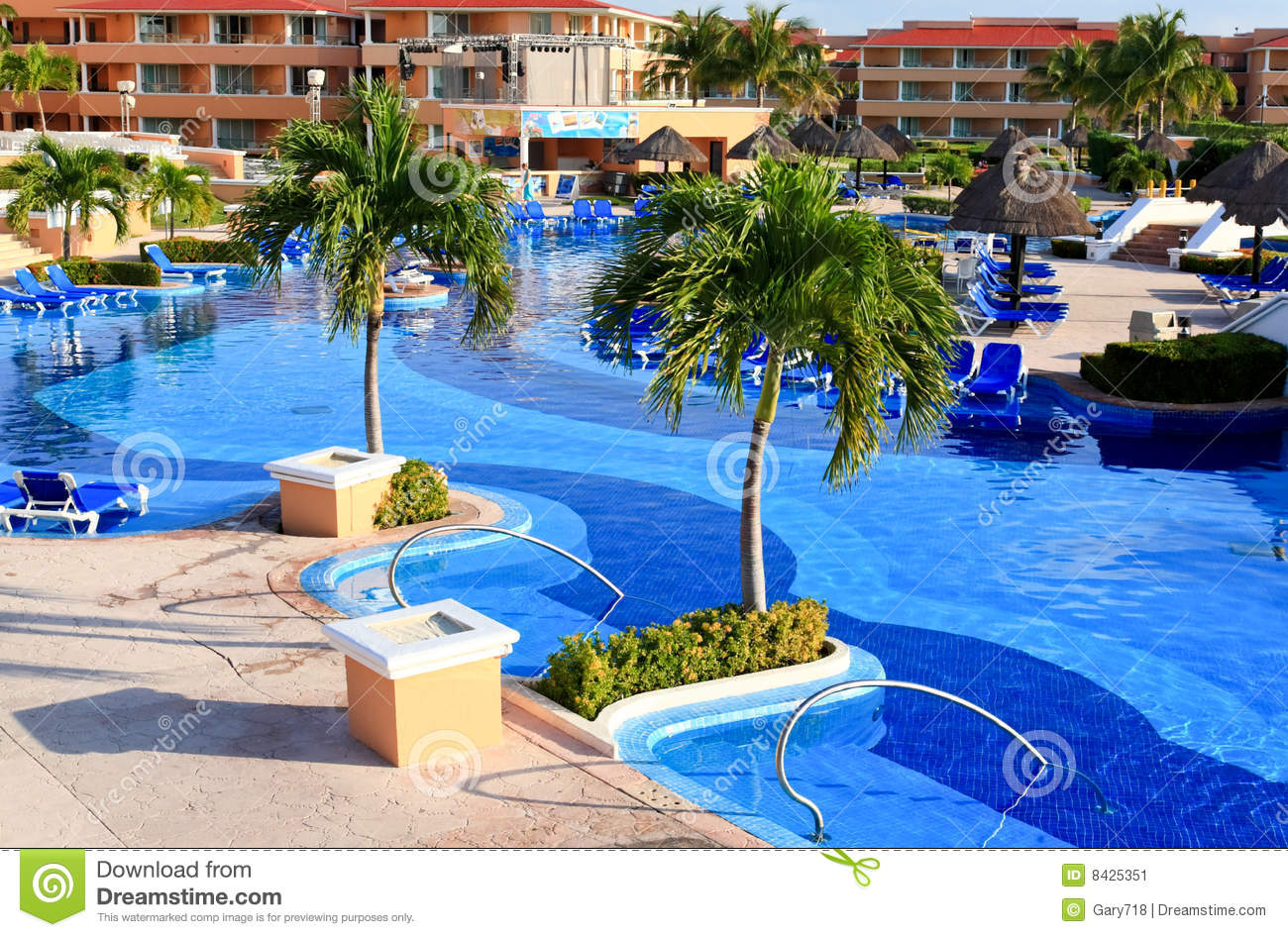A luxury all inclusive beach resort at morning stock image for Luxury all inclusive resorts for families
