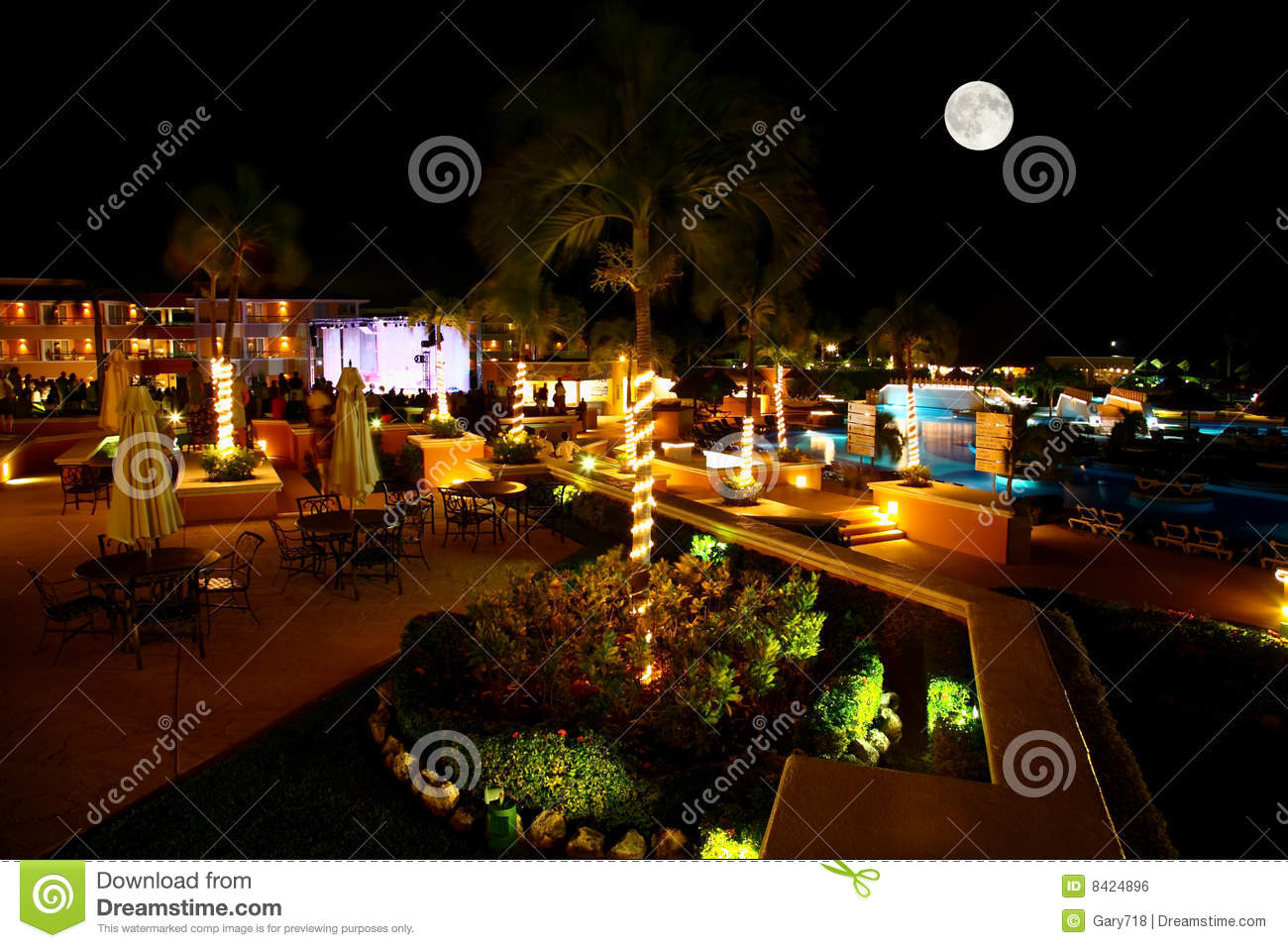 Luxury All Inclusive Beach Resort At Night Royalty Free Stock Image ...