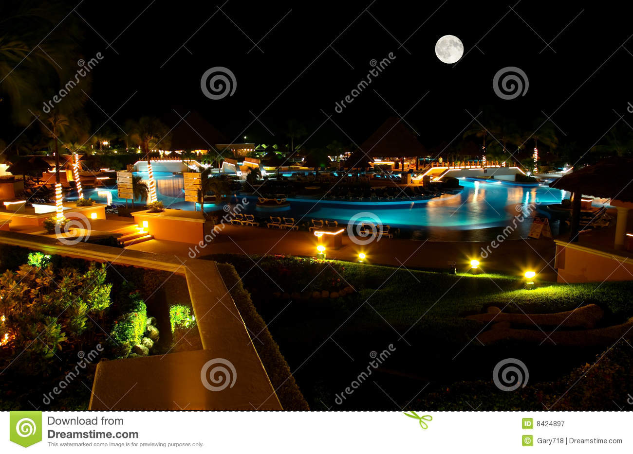 ... Free Stock Photography: A luxury all inclusive beach resort at night