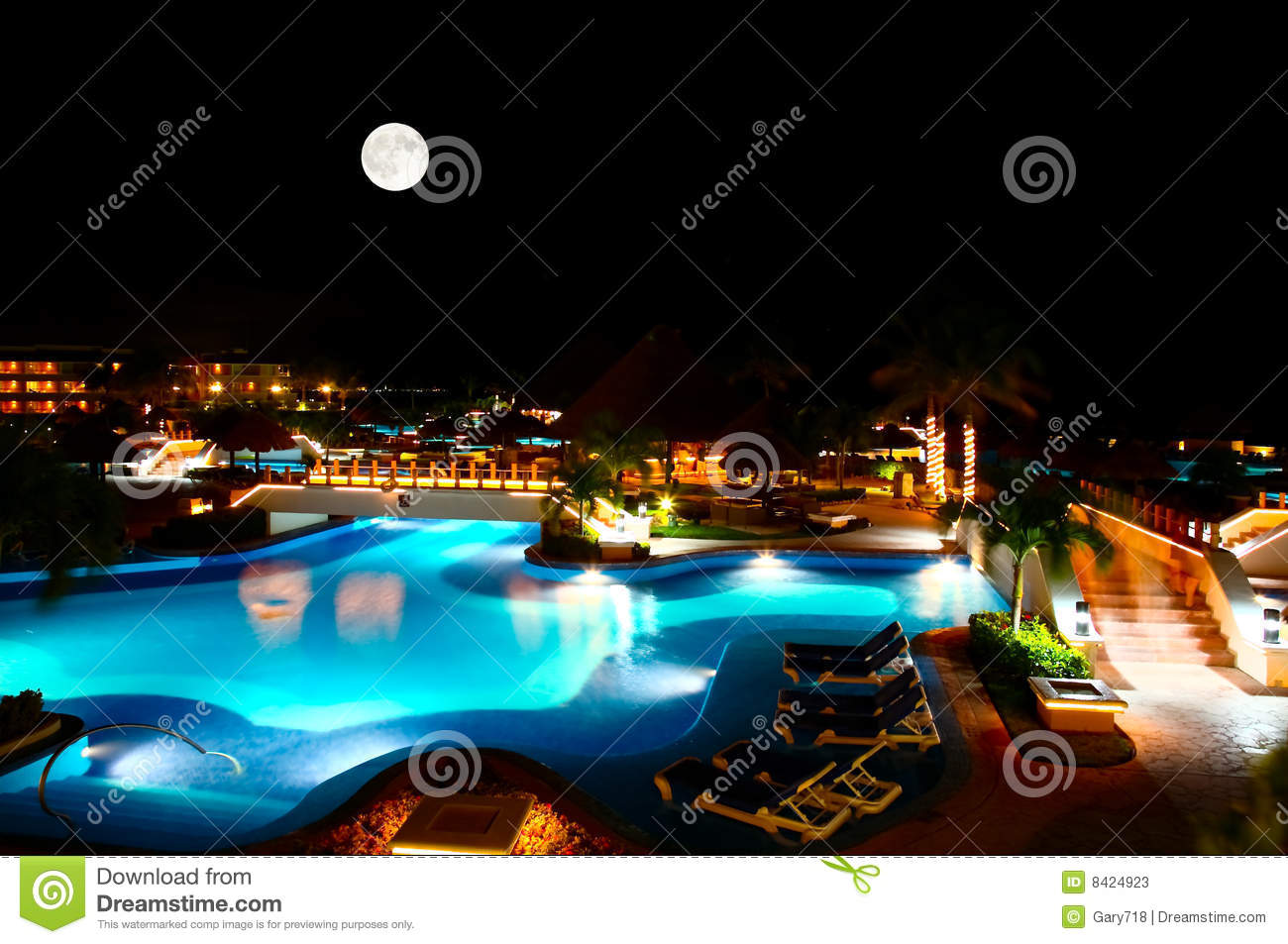 Luxury All Inclusive Beach Resort At Night Stock Photos - Image ...