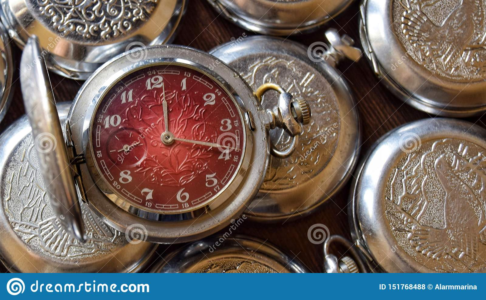 Antique pocket watch in retro style close up