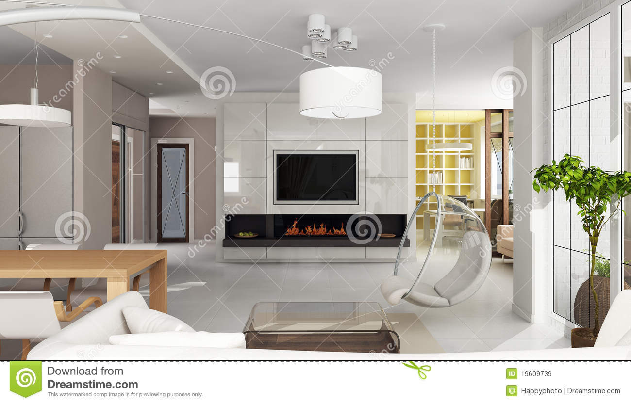 Luxury apartment interior with fireplace stock for Villa de luxe moderne interieur chambre
