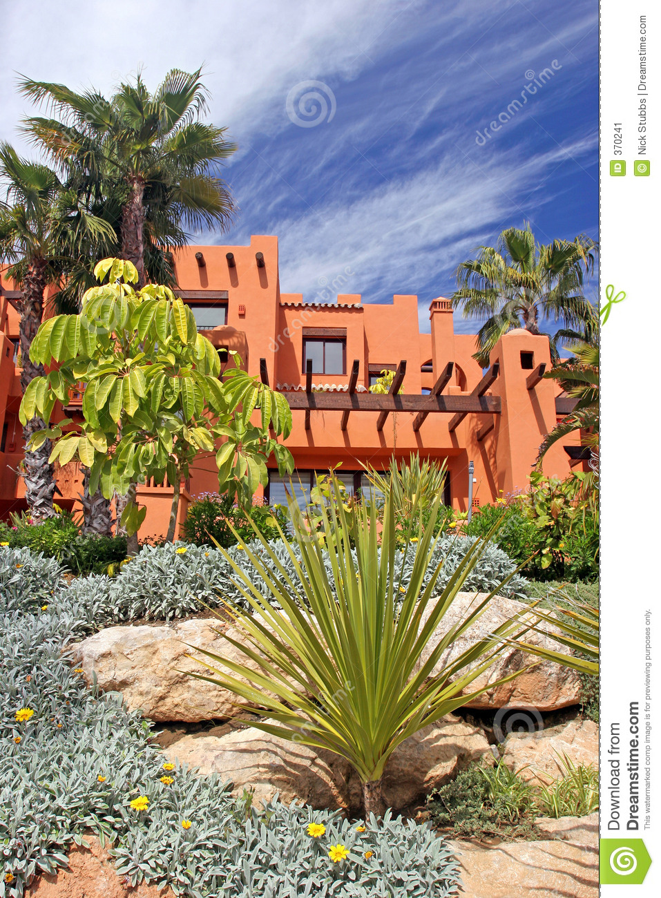 Luxury apartments and gardens on urbanisation in spain
