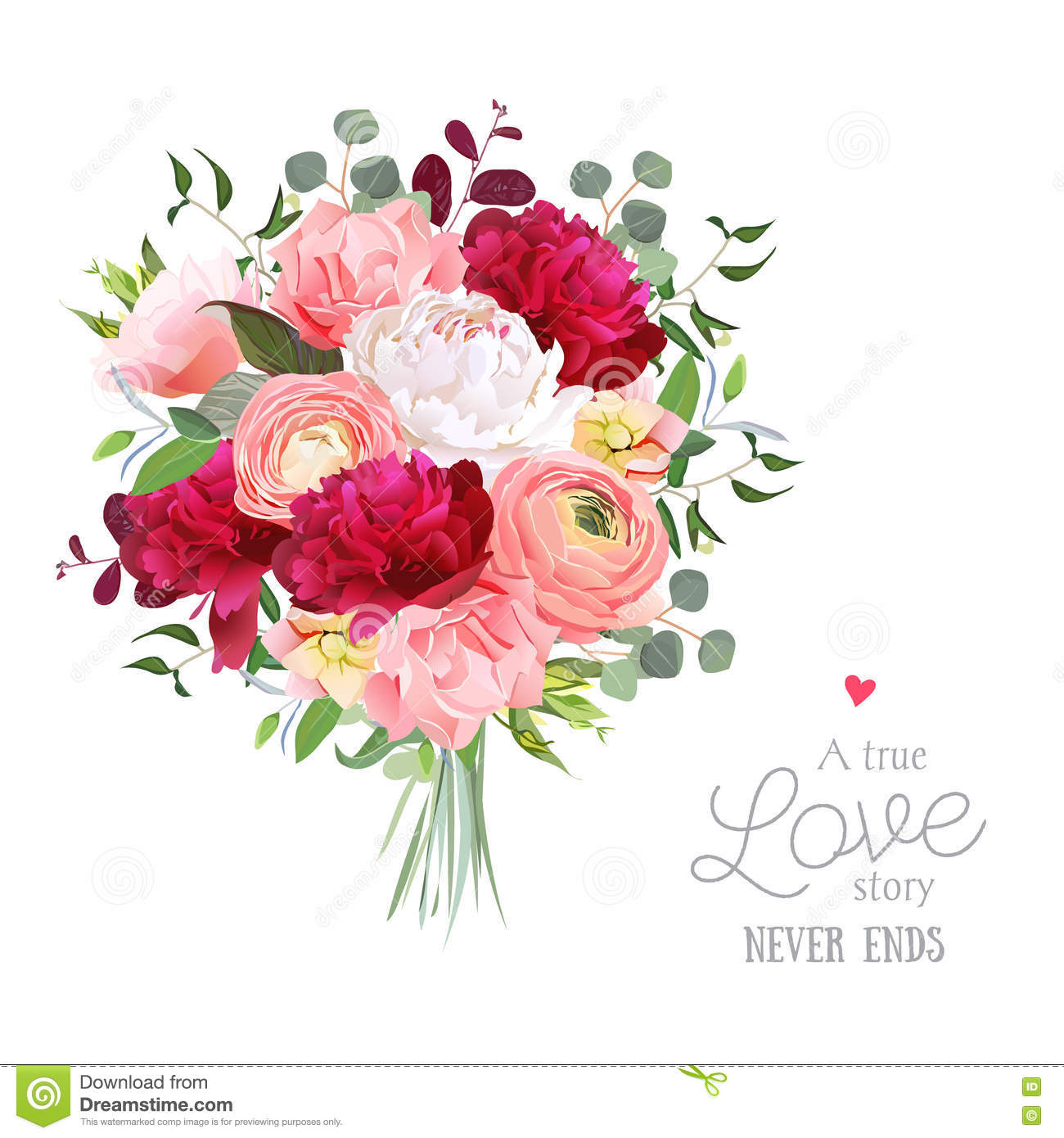 4aa26156510e9 Luxury autumn vector bouquet with ranunculus, peony, rose, carnation, green  plants on white vector design set. Bunch of flowers in modern mixed style.