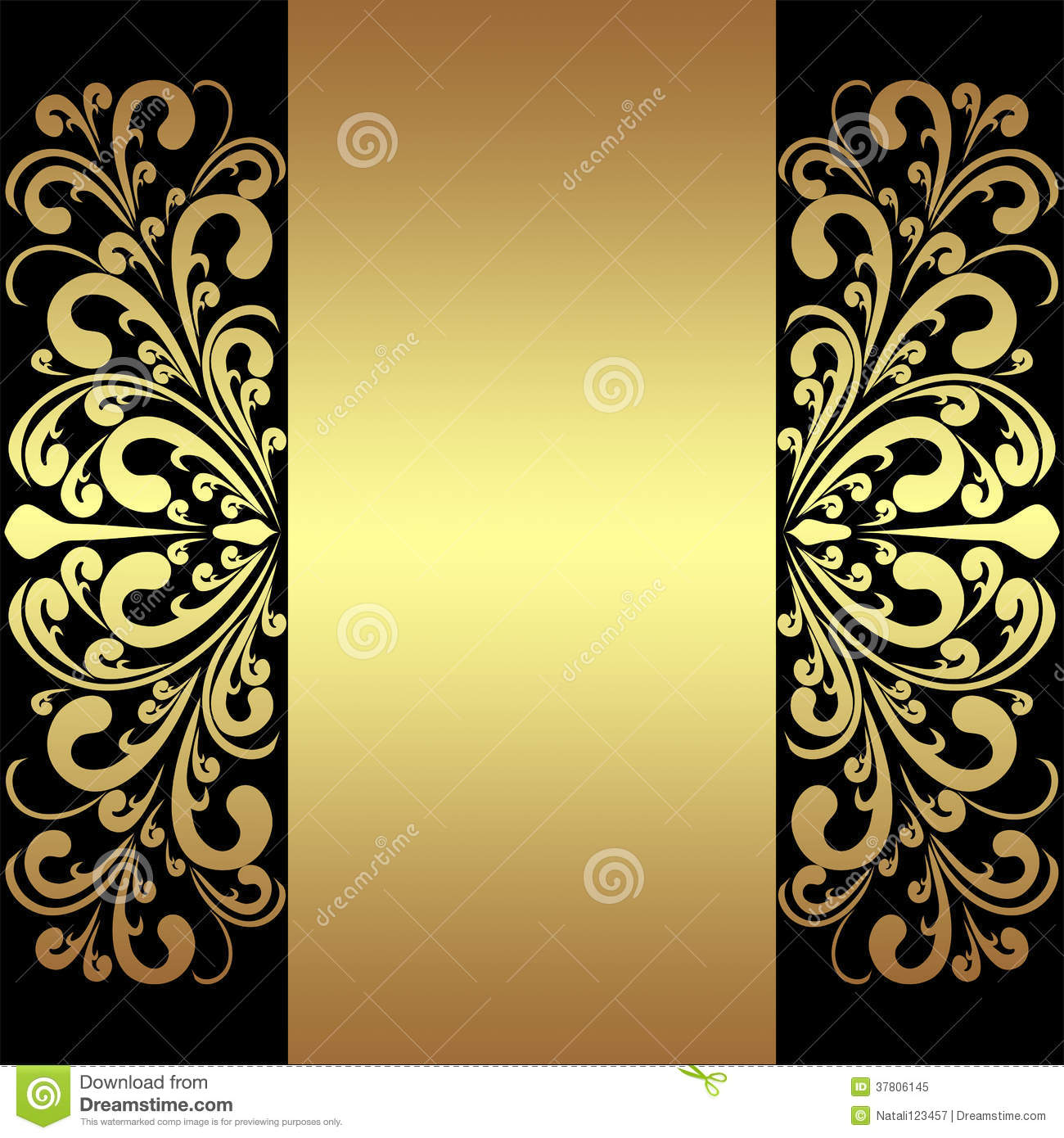 Luxury Background With Golden Royal Borders And Ribbon