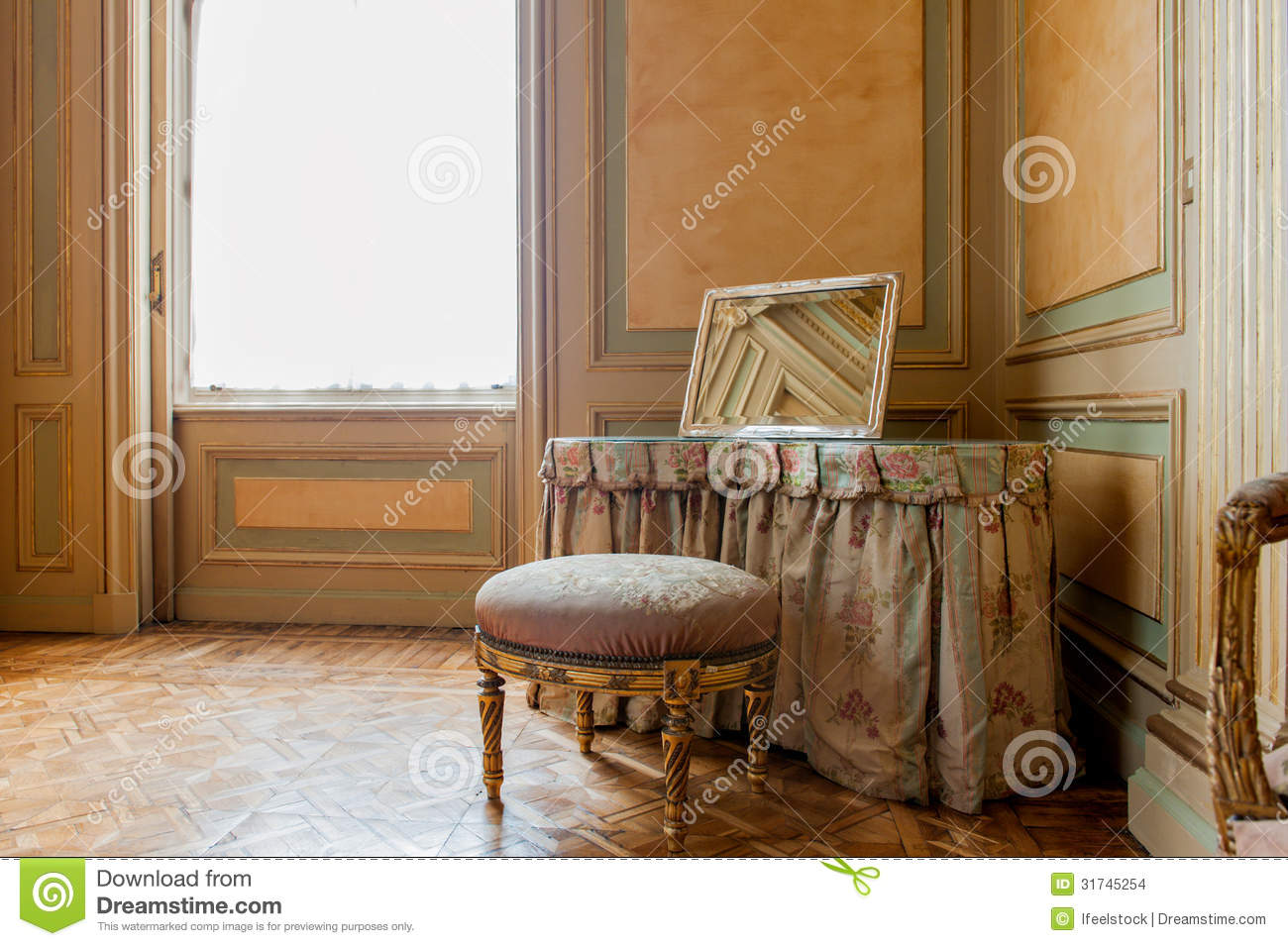Luxury baroque interior stock photo image of ancient for Chair next to window
