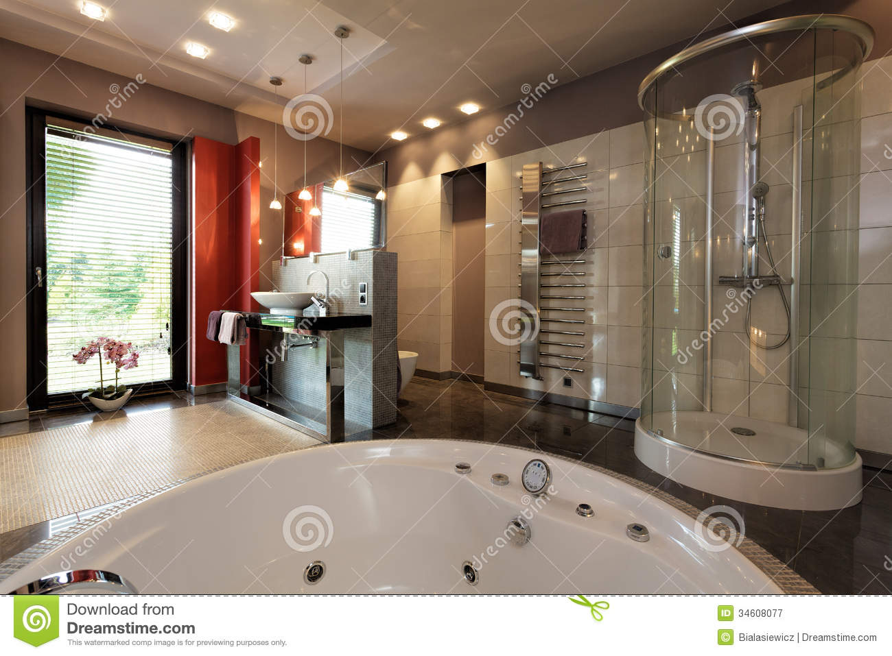 Modern master bathroom plan - Luxury Bathroom With Bath And Shower Royalty Free Stock Photography
