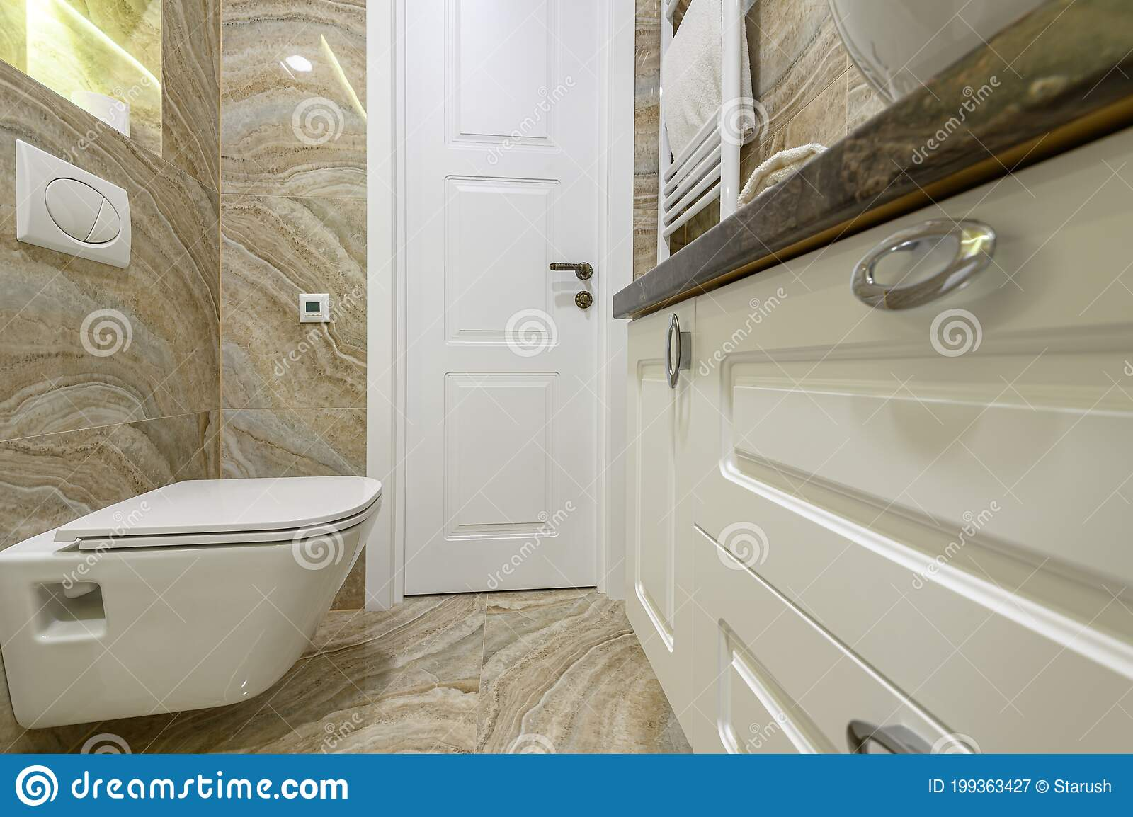 Luxury Bathroom With Beige Marble Tiles Stock Image Image Of Floor House 199363427