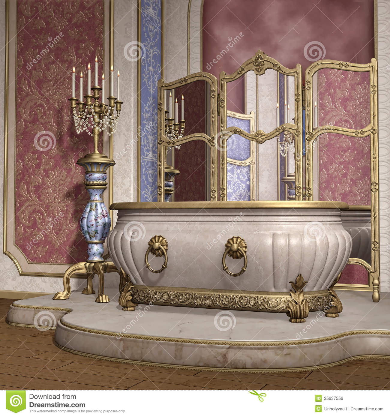 Luxury Bathroom Stock Illustration Illustration Of Castle