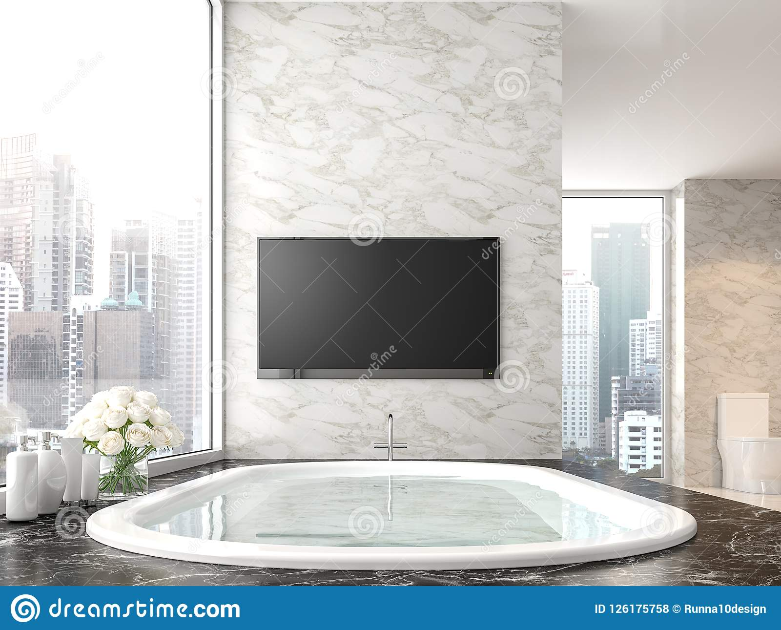 Luxury Bathroom With City View 3d Render Stock Illustration