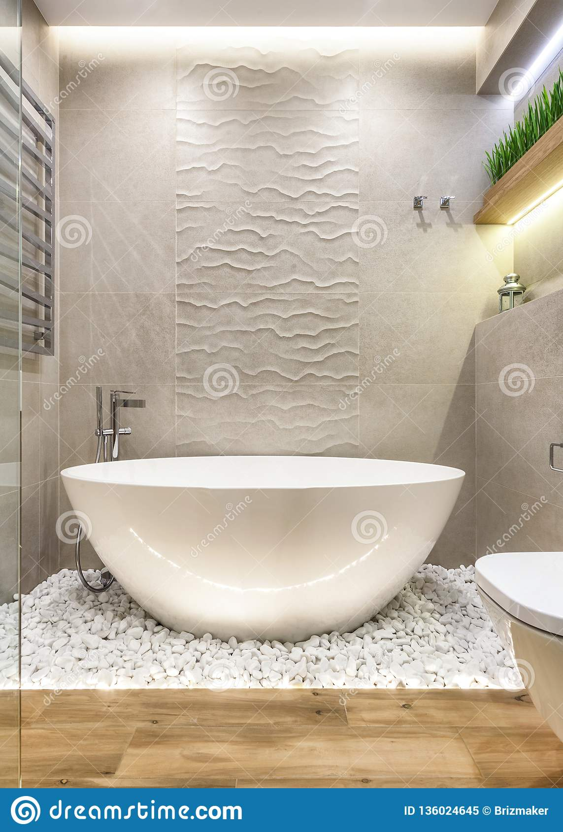 Luxury Bathroom Design With Simple And Minimal Elements Stock Image Image Of Bathtub Home 136024645
