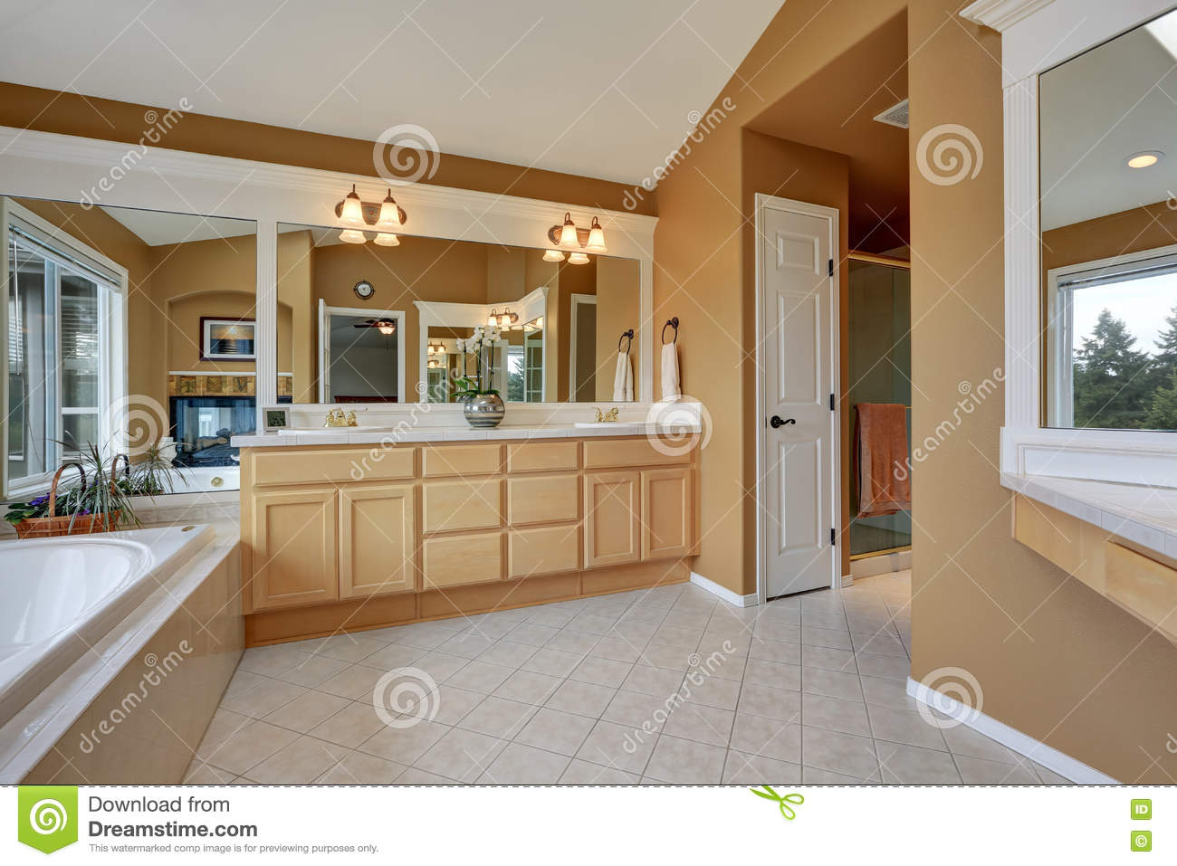 Luxury Bathroom Interior Orange Brown Walls And Vaulted Ceiling Stock Photo Image Of Interior Project 80687498