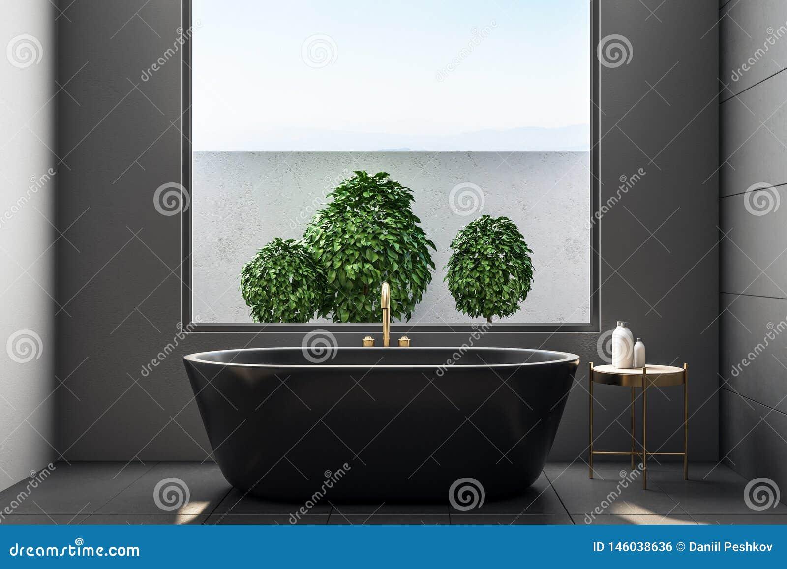 Luxury Bathroom Interior With Plants Stock Illustration Illustration Of Plant Decorative 146038636