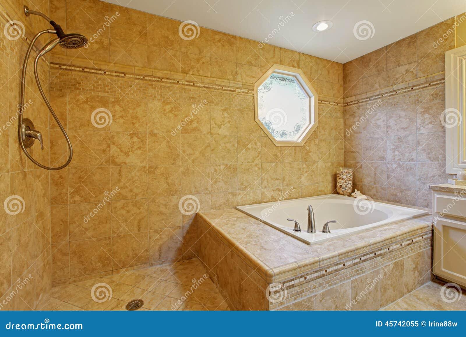 Luxury Bathroom Interior With Tile Trim Stock Image - Image of ...
