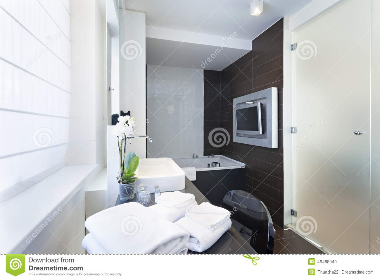 Luxury bathroom interior with wall mounted tv stock photo image