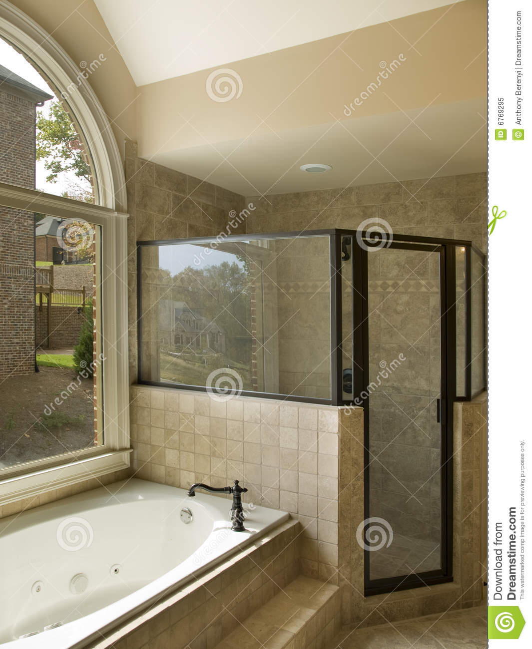 Luxury Bathroom With Jacuzzi And Shower Stock Image