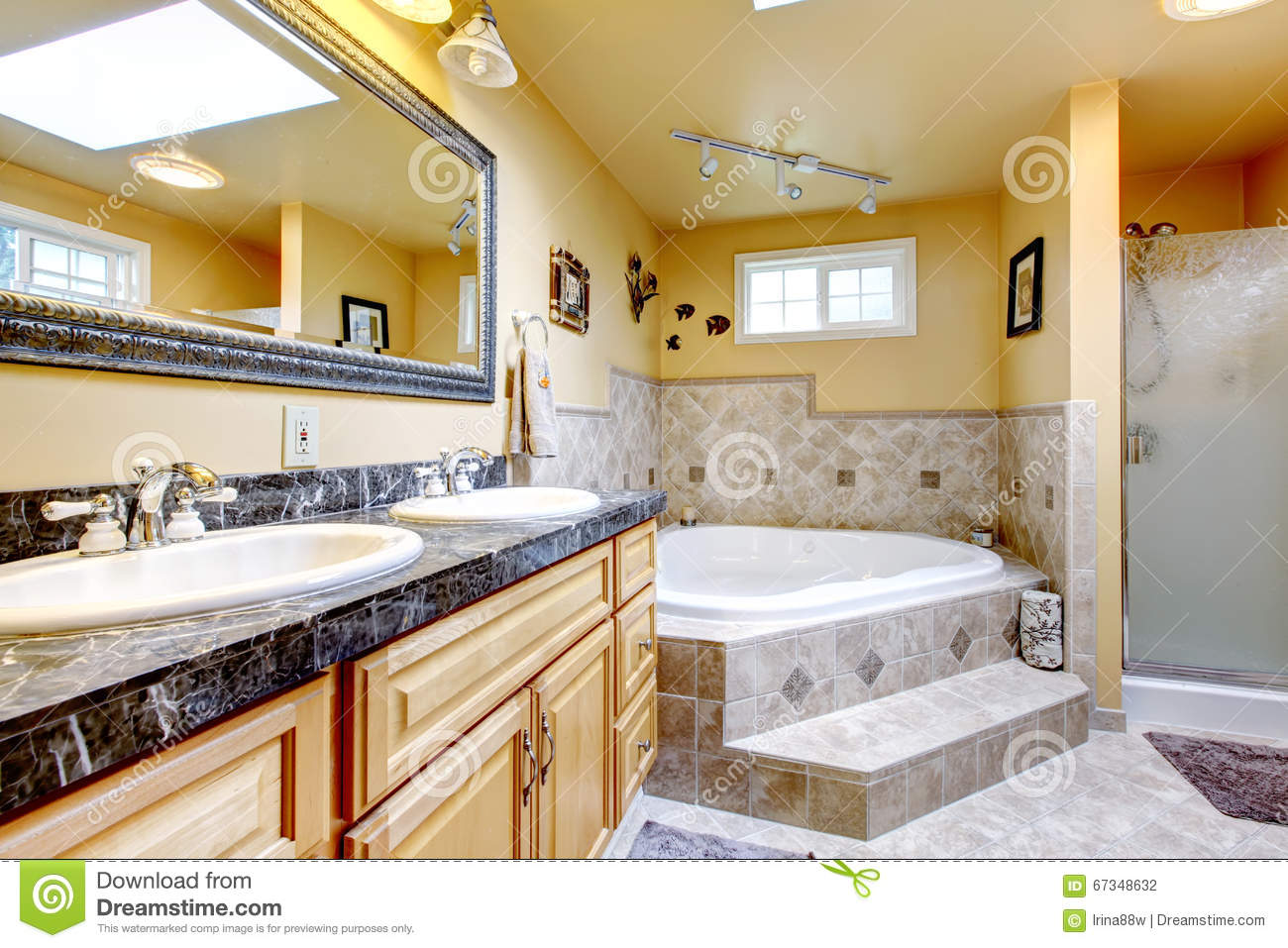 Luxury bathroom with jacuzzi style bath tub stone floor for Salle de bain avec jacuzzi