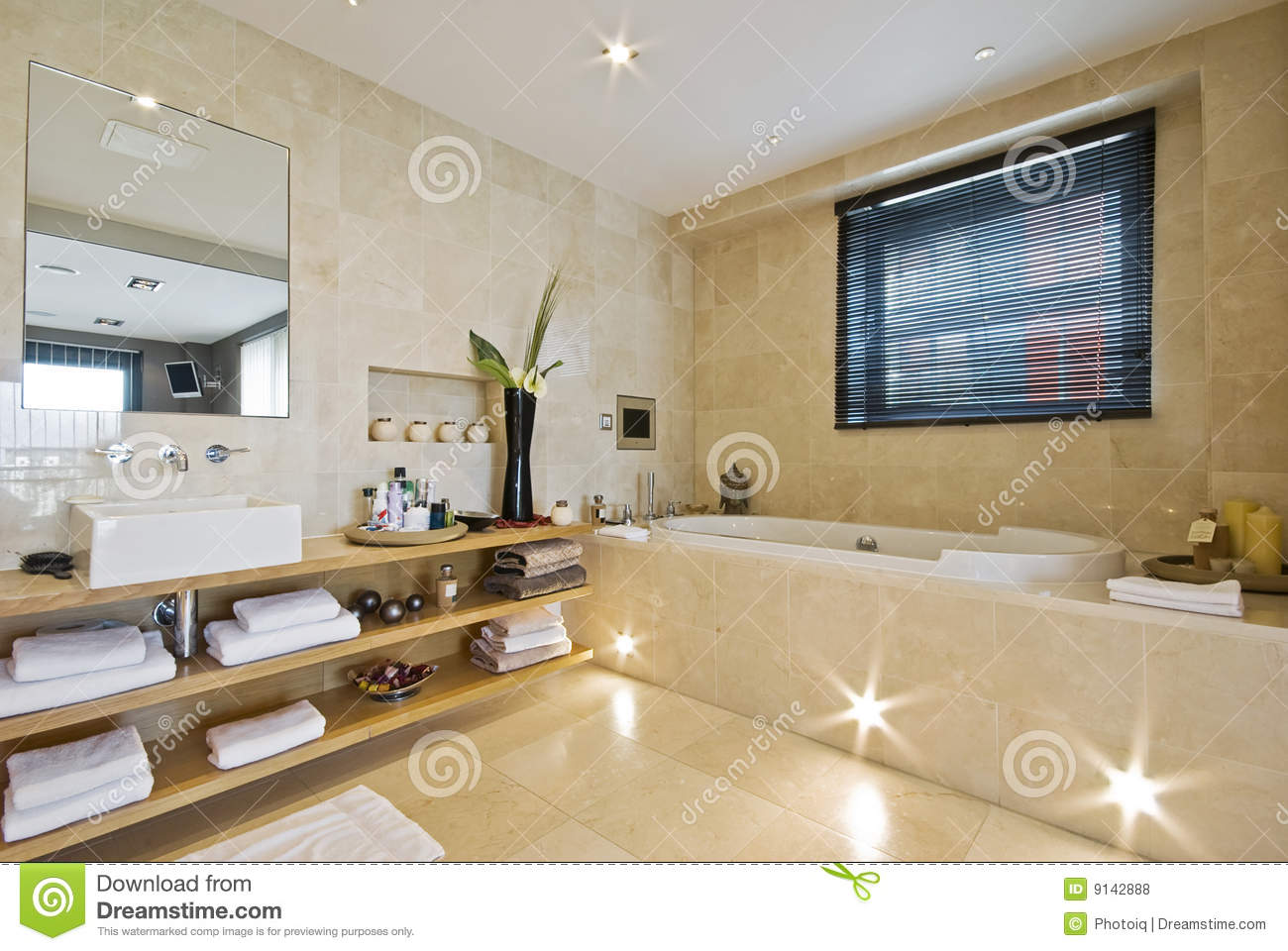 Luxury Bathroom With Light Brown Marble Royalty Free Stock ...
