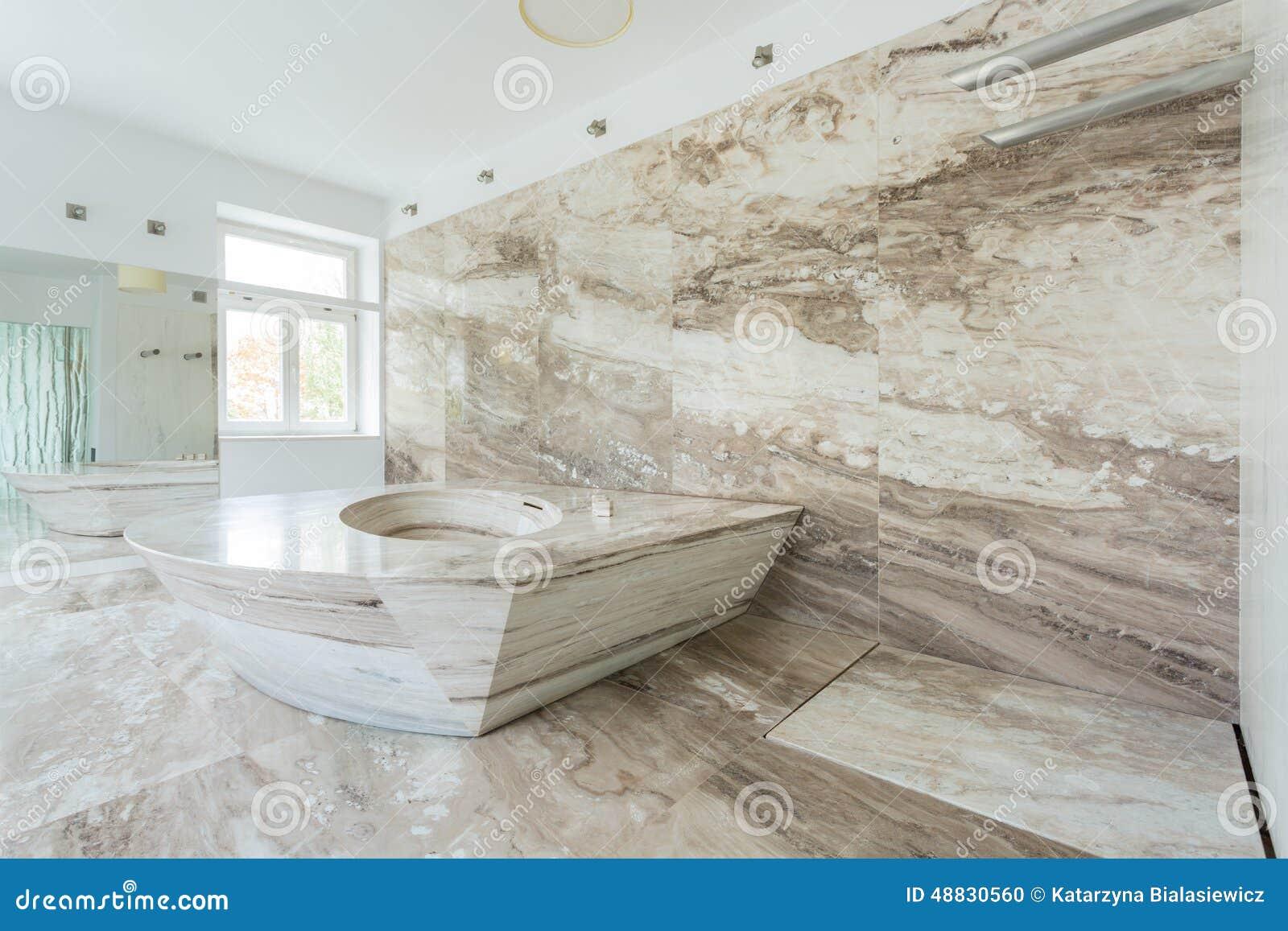 Luxury Bathroom With Marble Tiles Stock Photo Image