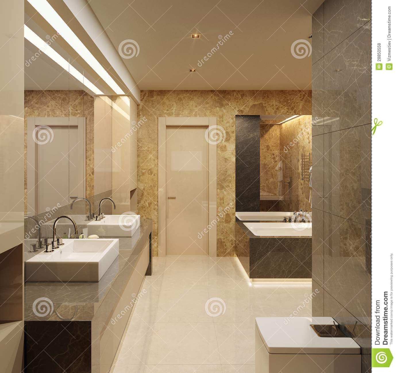 Luxury Bathroom Modern Style Stock Illustration Image