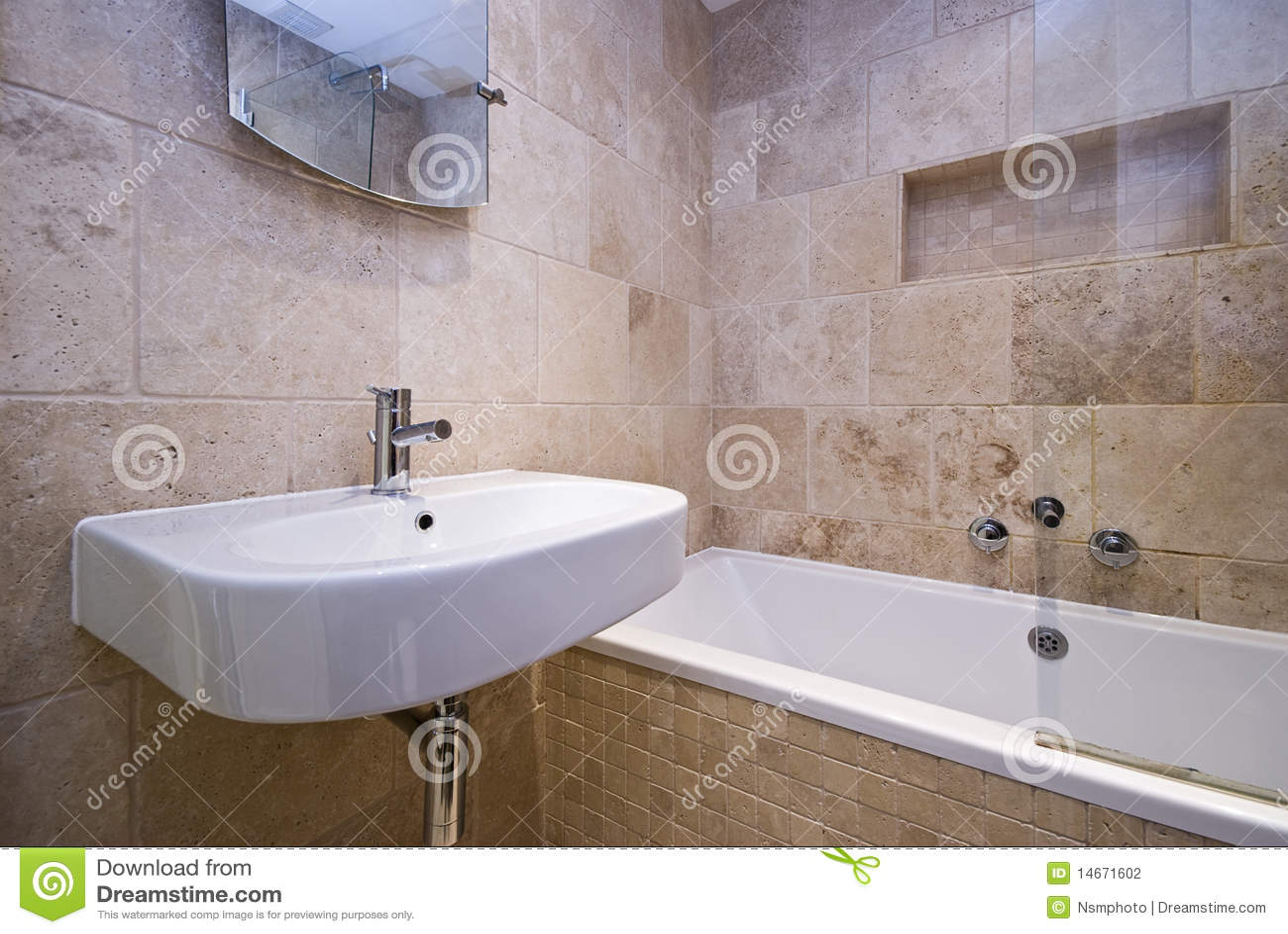 Luxury Bathroom With Stone Tiled Walls Stock Photo - Image of ...