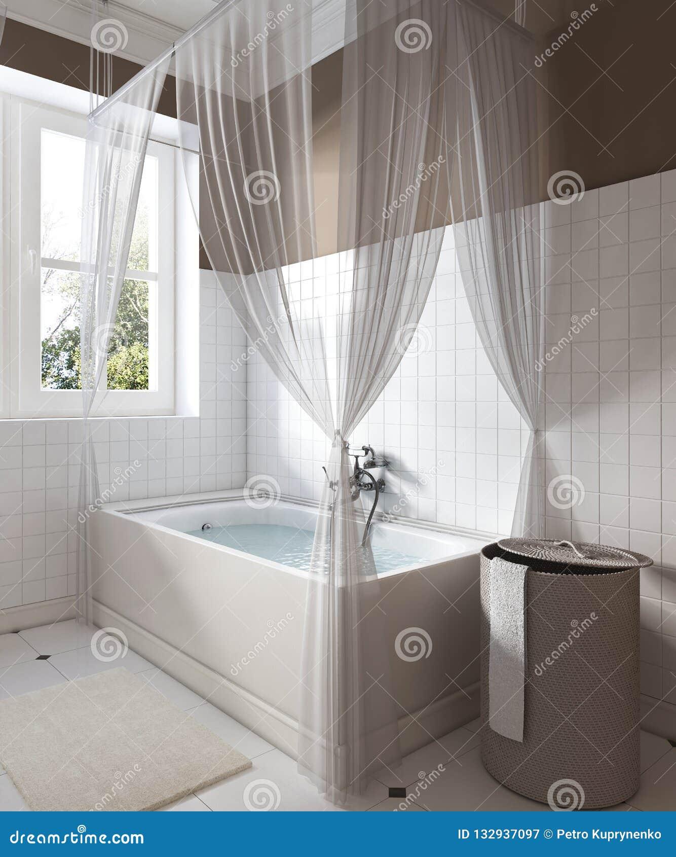 Luxury Bathtub With Curtain Bath In Classic Bathroom Stock