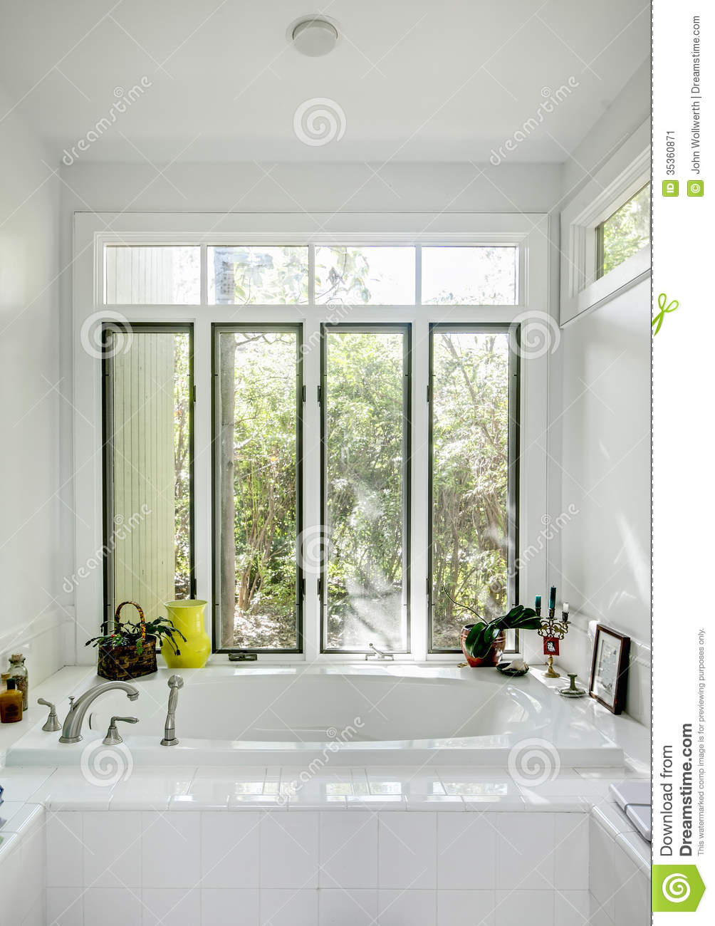 Luxury bathtub with windows stock image image 35360871 for Luxury home windows