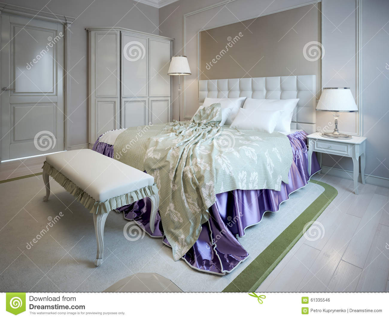 Luxury bed and bench in bedroom stock illustration image for Less expensive furniture