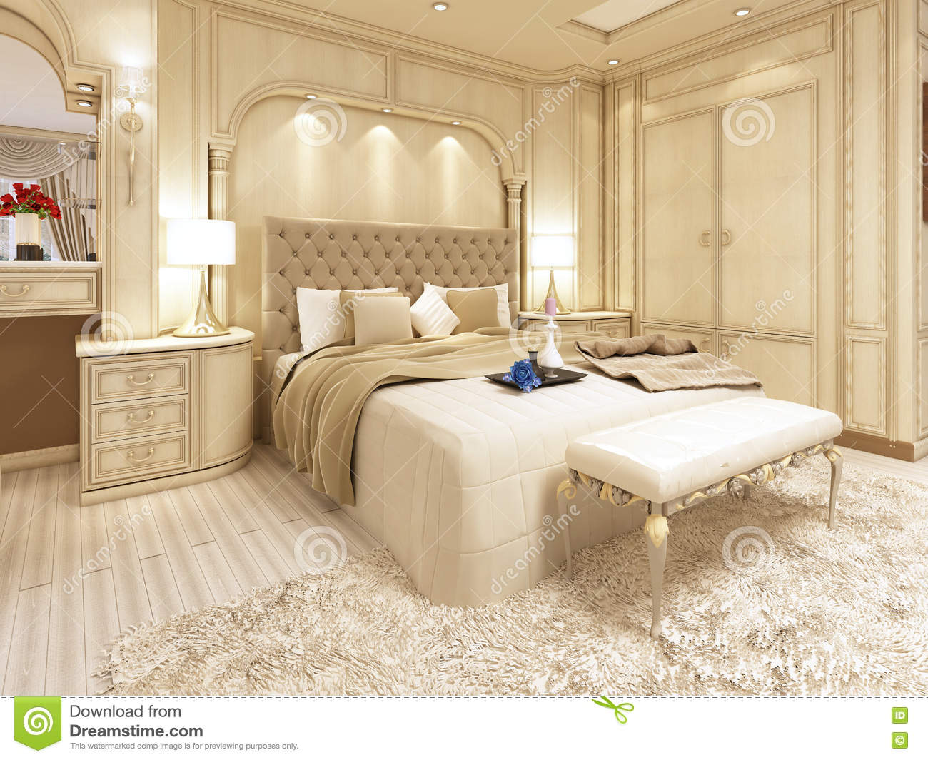 . Luxury Bed In A Large Neoclassical Bedroom With Decorative Niche