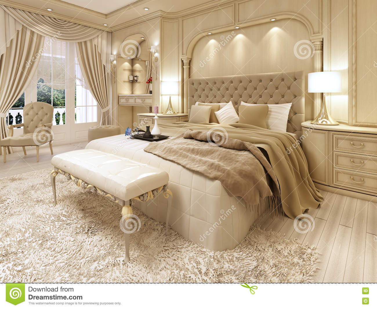 Royalty Free Illustration. Luxury Bed In A Large Neoclassical Bedroom With Decorative Niche
