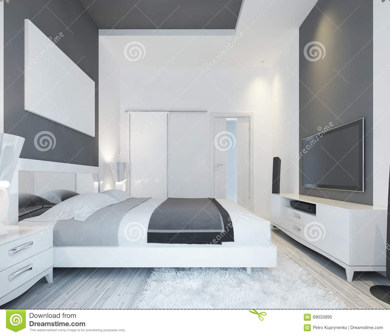 luxury bedroom with a bed in a modern style. stock illustration