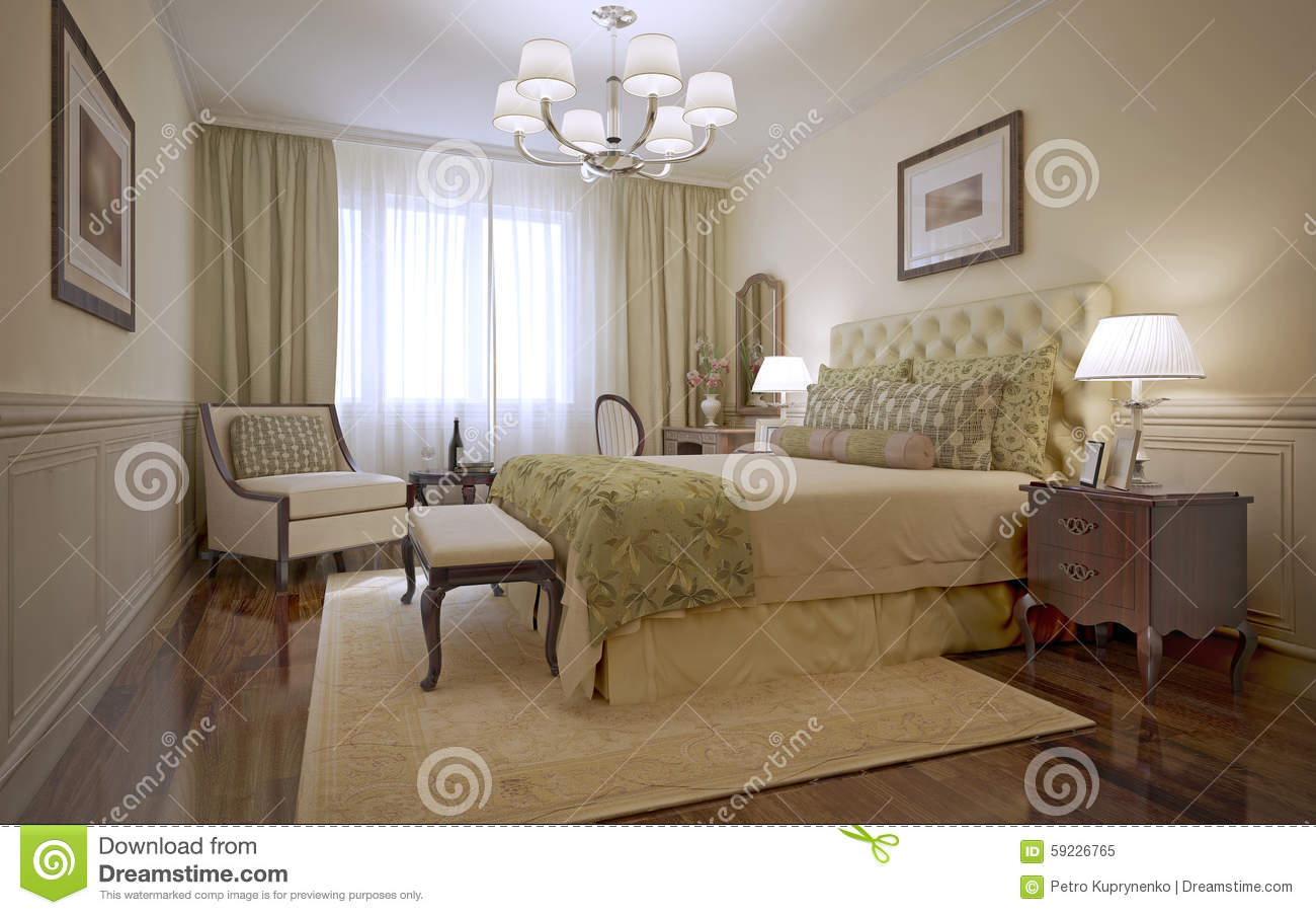 Camera Da Letto Inglese.Luxury Bedroom English Style Stock Illustration Illustration Of