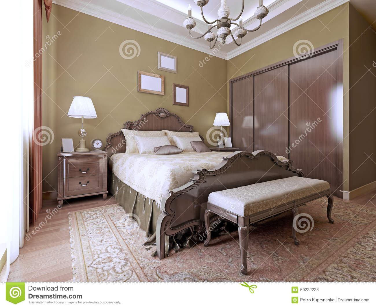 English style bedrooms - Bed Bedroom Bench English Headboard Luxury Soft Style