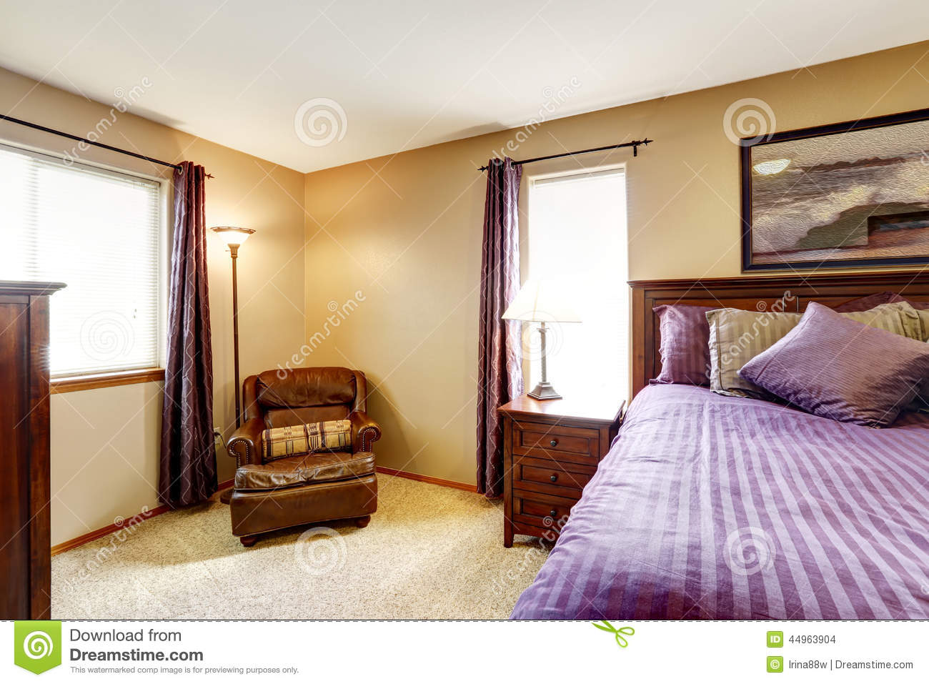 Luxury Bedroom Furniture With Bright Purple Bedding Stock Photo Image Of Interior Bright 44963904