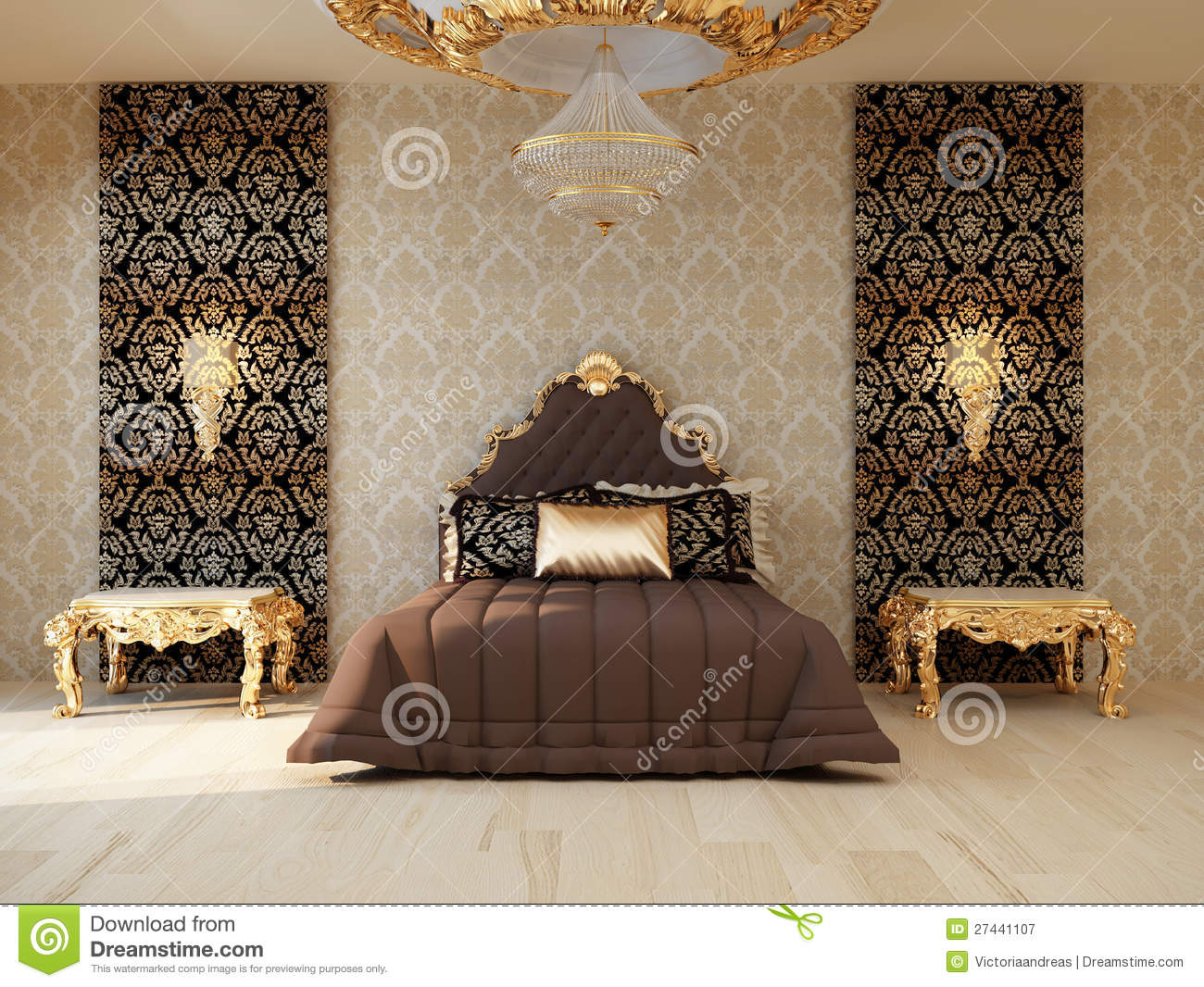 Luxury Bedroom With Golden Furniture Stock Illustration