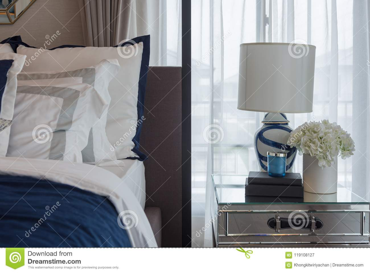 Download Luxury Bedroom In Indigo Blue Tone Stock Image   Image Of Hotel,  Design: